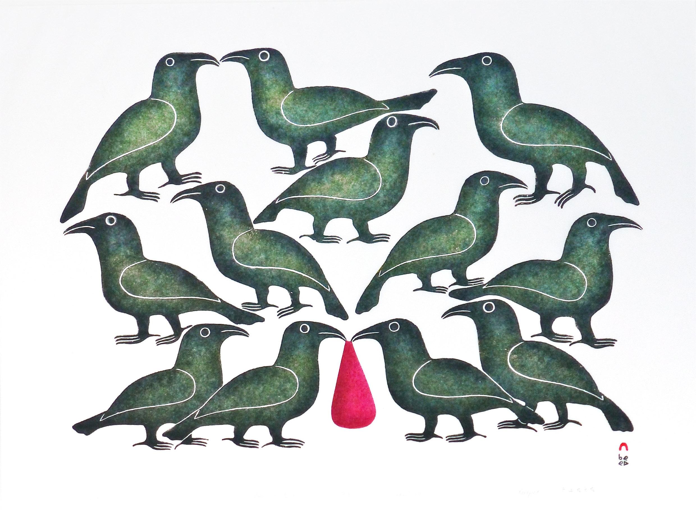 Plusieurs jeunes corbeaux